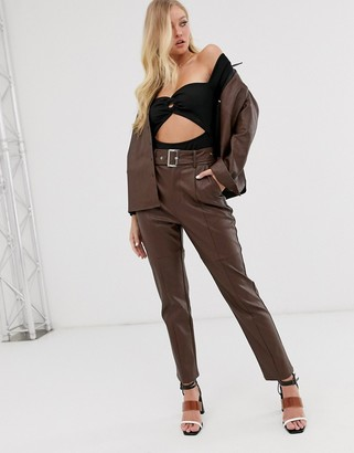 Neon Rose high waisted trousers in faux leather with belt