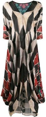 Afroditi Hera Draped Multi-Pattern Maxi Dress