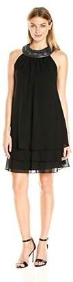 SL Fashions Women's Sleeveless Shift Dress with Tiered Skirt Featuring Embellished Neckline