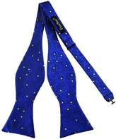 Pense'e Pensee Mens Self Bow Tie Blue and Yellow Polka Dot Floral Silk Bow Ties