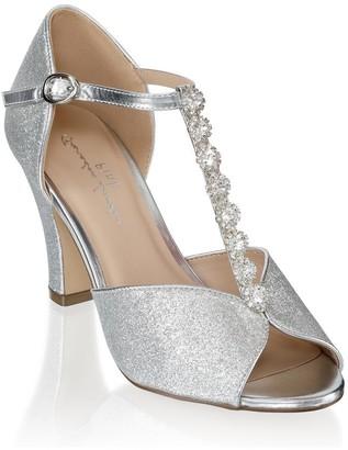 Paradox London Rosie Silver Low Heel T-Bar Peep Toe Shoes