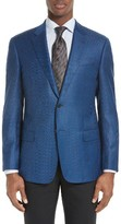 Armani Collezioni Men's Trim Fit Houndstooth Wool Sport Coat