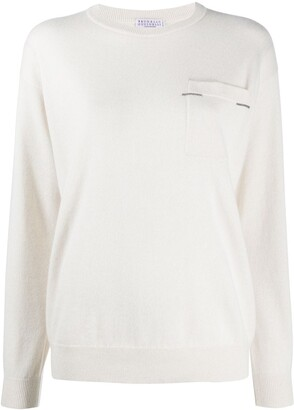 Brunello Cucinelli Patch Pocket Cashmere-Knit Top
