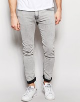 Pull&Bear Super Skinny Jeans In Acid Wash Gray