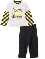 Buster Brown Heather Gray & Anthracite 'City Dig' Tee & Pants - Infant