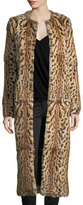 Haute Hippie Leopard-Print Rabbit Fur Long Coat