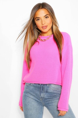 boohoo Petite Roll Hem Cropped Sweater