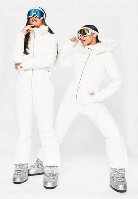 Missguided White Msgd Ski Quilted Corset Snow Suit