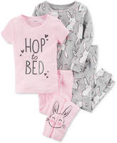 Carter's 4-Pc. Bunny-Print Cotton Pajama Set, Baby Girls