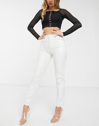 Asos Design DESIGN Ritson original mom jeans in white crinkle vinyl