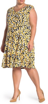 London Times Floral Jersey Fit & Flare Dress (Plus Size)
