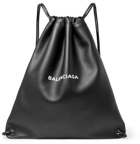 Balenciaga Everyday Printed Leather Drawstring Backpack