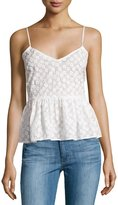 Plenty by Tracy Reese Flower Embroidered Peplum Tank Top, White