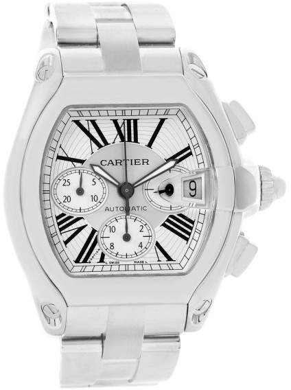Cartier Roadster W62019X6 Stainless Steel Silver Dial Mens Watch