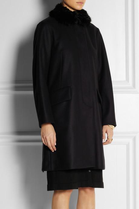 Marni Shearling-trimmed wool-felt coat
