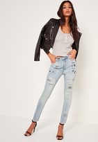 Missguided Blue High Waisted Graffiti Skinny Jeans