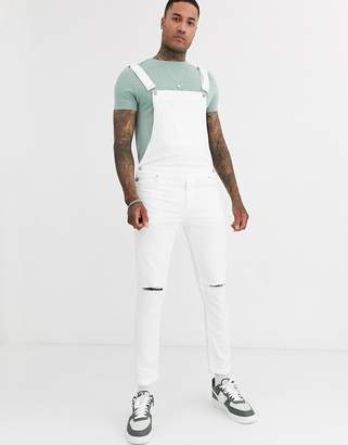 Asos Design DESIGN skinny denim dungarees in white with knee rips
