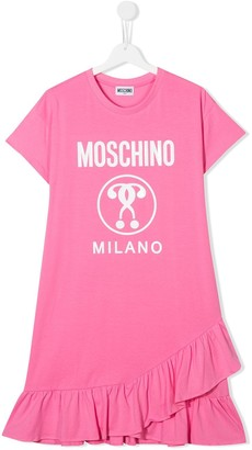 MOSCHINO BAMBINO TEEN logo T-shirt dress