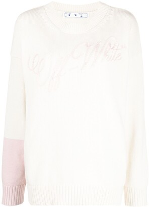 Off-White Embroidered-Logo Colour-Block Jumper
