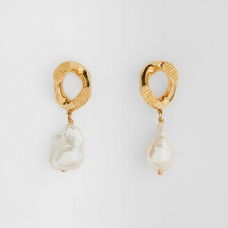Burberry Pearl Detail Gold-plated Chain-link Earrings