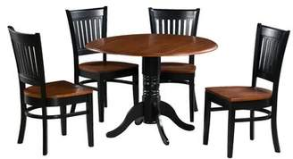 Tobias August Grove 5 Piece Drop Leaf Solid Wood Dining Set August Grove Table Top Color: Cherry, Table Base Color: Black