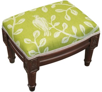 Copper Grove Castletown Chartreuse Upholstered Wood Footstool with Bird Accents