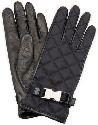 Prada Embellished Quilted Shell And Leather Gloves
