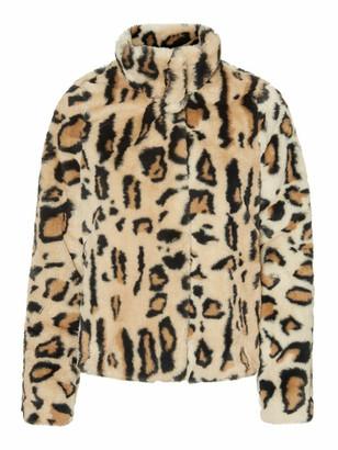 Vero Moda SHORT FAUX FUR LEOPARD JACKET - xs | polyester