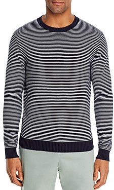 The Men's Store at Bloomingdale's Cotton Stripe Classic Fit Crewneck Sweater - 100% Exclusive