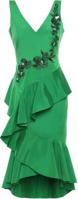 Marchesa Ruffled Embellished Crepe Dress