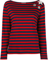 Saint Laurent embroidered breton jumper - women - Cotton/Polyester/glass - XS