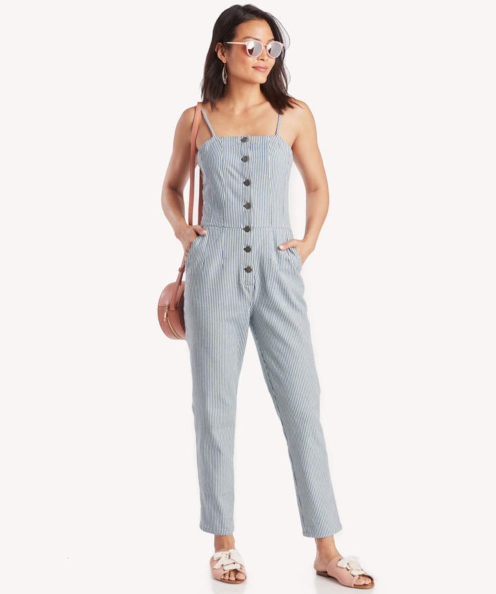 1 STATE Women's Bttn Frnt Railroad Stripe Jumpsuit Hickory Size 0 From Sole Society