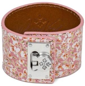 Patricia Nash Silver-Tone Rose-Print Leather Wrap Cuff Bracelet