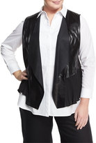 Lafayette 148 New York Plus Shelene Leather-Silk Combo Vest, Black, Plus Size
