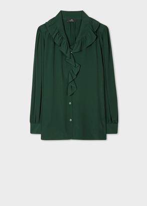 Paul Smith Women's Green Ruffle Long-Sleeve Top