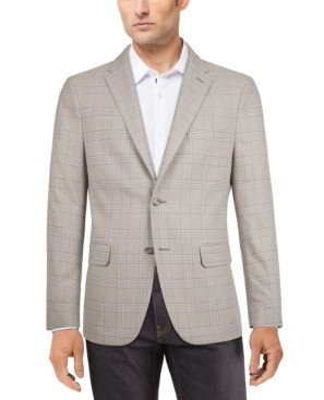 Tommy Hilfiger Men's Modern-Fit Gray/White Plaid Sport Coat