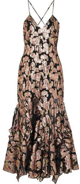 Alice McCall Best Of You Metallic Silk-blend Jacquard Midi Dress - Black