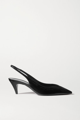 Saint Laurent Kiki Patent-leather Slingback Pumps - Black