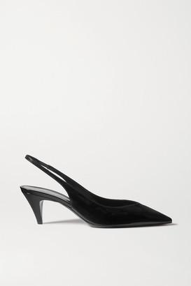 Saint Laurent Kiki Patent-leather Slingback Pumps - Black