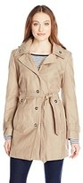 London Fog Women's Single Breasted Double Collar Trench Coat