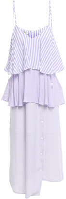GOEN.J Tiered Striped Voile Midi Slip Dress