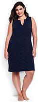 Classic Women's Plus Size Cotton Jersey Tunic Dress Cover-up-Deep Sea