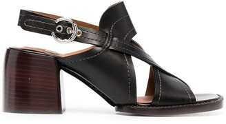 Chloé Strappy Leather Cross-Over Sandals