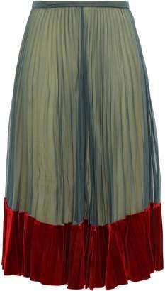 Valentino Velvet-trimmed Silk Crepe De Chine Midi Dress