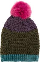 Etro beanie hat with bobble - women - Fox Fur/Wool - One Size