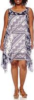 Robbie Bee Sleeveless Printed Chiffon Sheath Dress - Plus