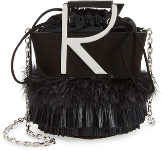 Roger Vivier Mini Feather Fringes Goatskin Leather Bucket Bag