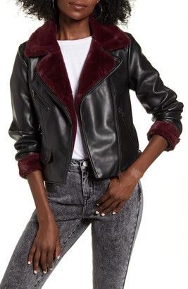 Vero Moda Falleaonie Faux Leather Moto Jacket with Faux Fur Trim