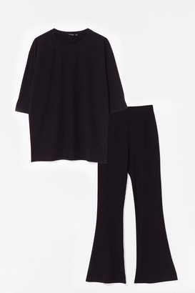 Nasty Gal Womens oversize tee and flare set - Black - 6