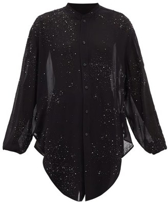 Saint Laurent Crystal-embellished Tie-front Georgette Blouse - Black